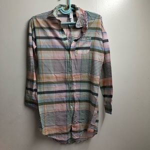PLAID BUTTON UP SLEEPWEAR